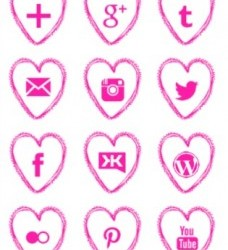 Free Pink Heart Social Media Icons