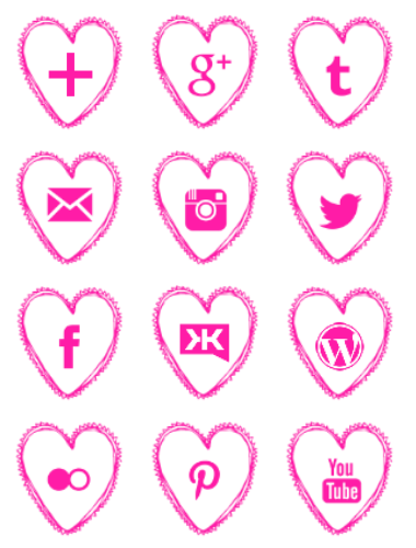 Free pink heart social media icons set