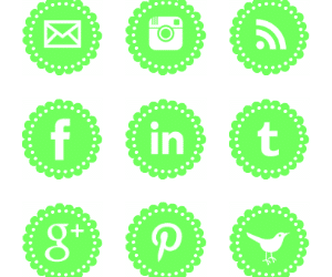 Free Pale Green Scalloped Social Media Icons
