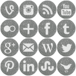 Round silver glitter social media icons