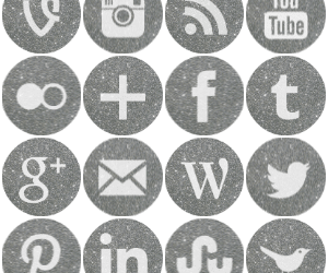 Free round silver sparkle social media icons