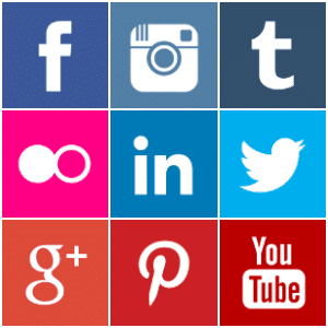 Free coloured square social media icons