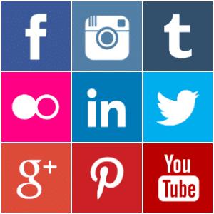 Free coloured square social media icons