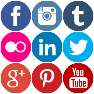 Coloured Social Media Icons Round
