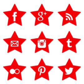 Free Red Star Social Media Icons