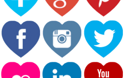 Free heart shaped coloured social media icons