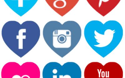 Free heart shaped coloured social media icons