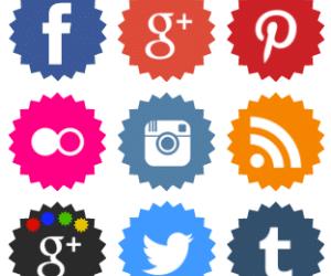 Free jagged edge coloured social media icons