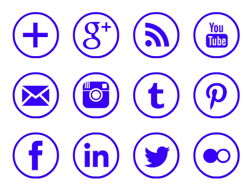 Purple rimmed free social media icons