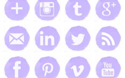 Free Lilac Watercolor Social Media Icons