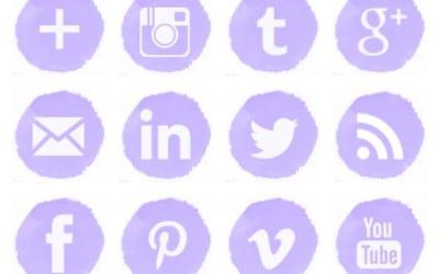 Free Lilac Watercolor Social Media Icons