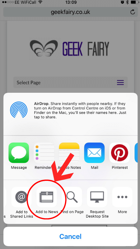 Adding a blog to your Favourites on the Apple News App - Geek Fairy