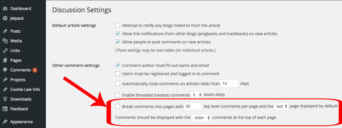 Limits comment amount WordPress posts