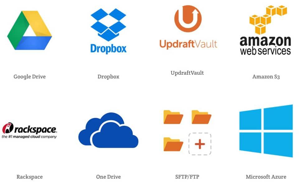 UpdraftPlus Back Up options