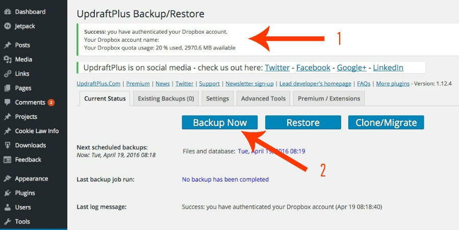 backup your WordPress site with Uupdraftplus4