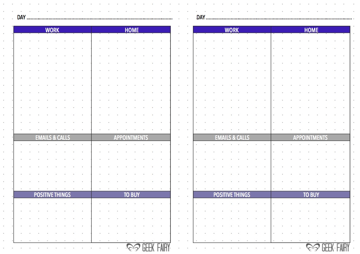 Download Free Printable A5 Bullet Journal Filofax Inserts