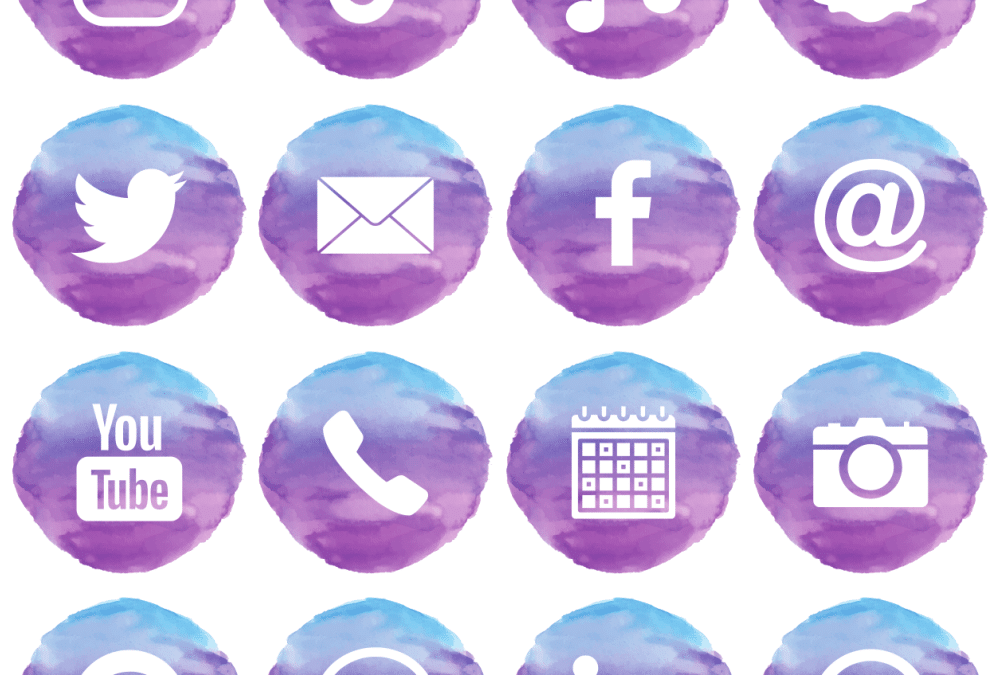 Free Purple & Blue Watercolour Social Media and iOS app icons