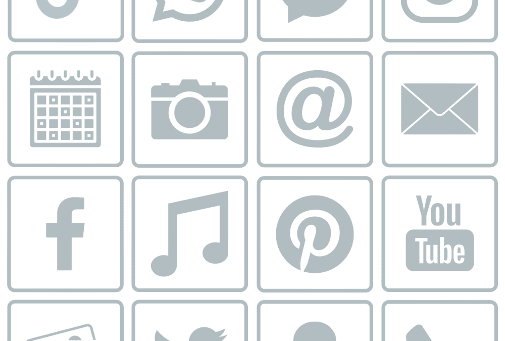 Free grey border Social Media and iOS app icons
